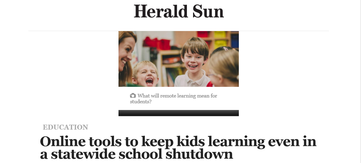 Herald Sun article heading